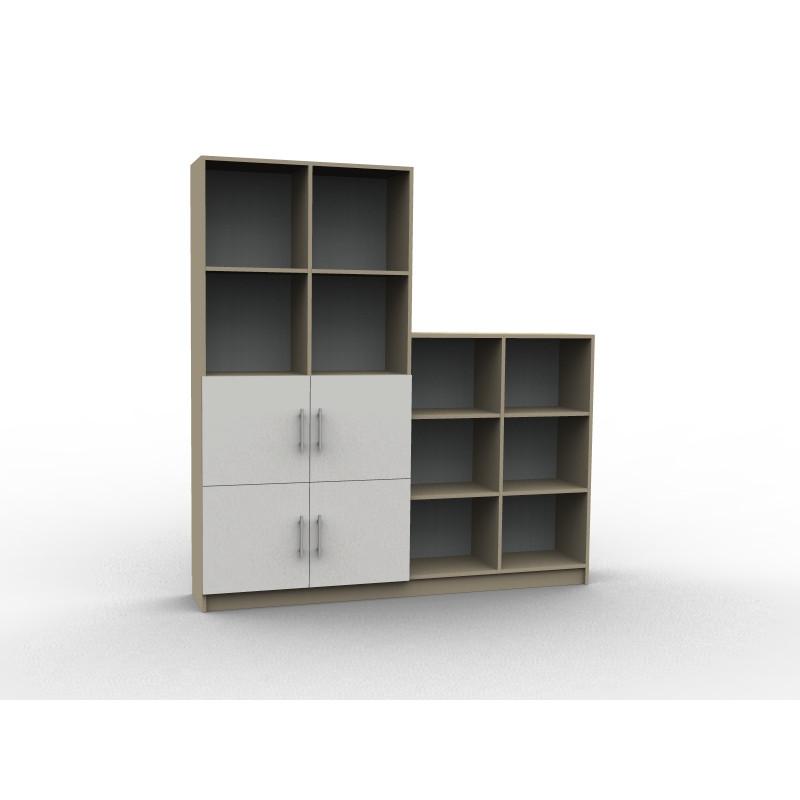 Bibliothèque sur mesure design, en bois et porte blanche, modèle Boisé