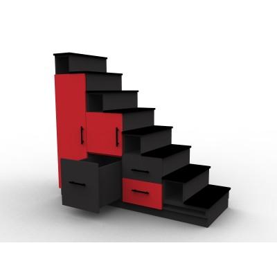 Meuble escalier rouge et noir avec portes et tiroirs, modèle Stendal aménagement mezzanine