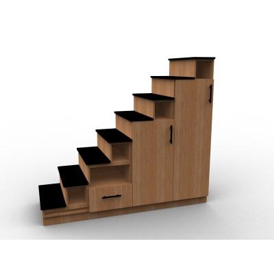 Meuble escalier en bois de chêne, modèle Rouvre avec des marches noirs