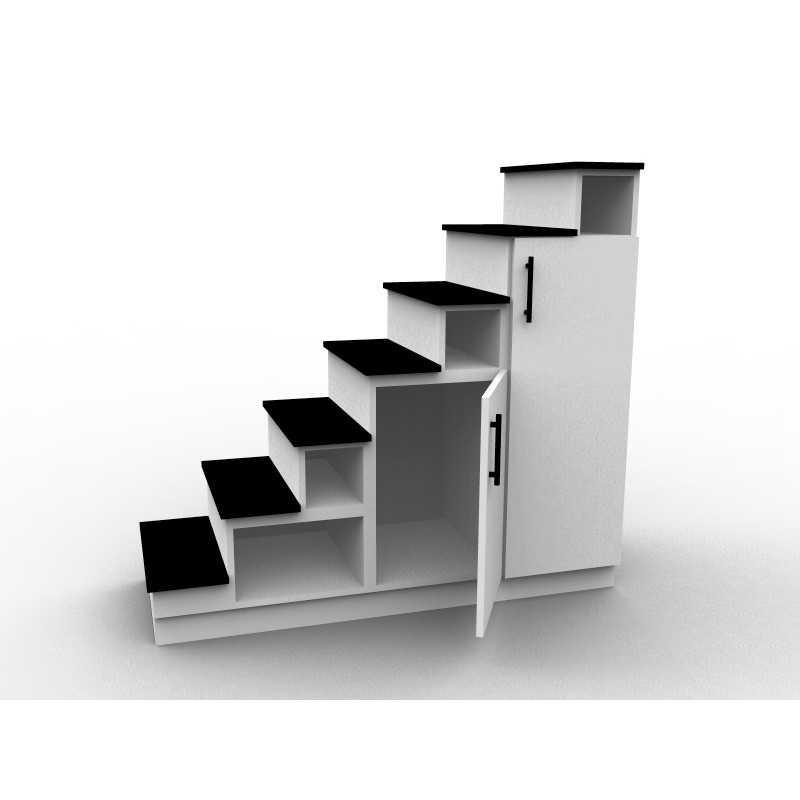 Meuble escalier mezzanine blanc et noir, modèle Eteya